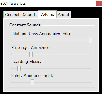 Settings Window - Volume
